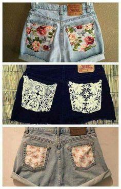 Shorts diy pocket decoration