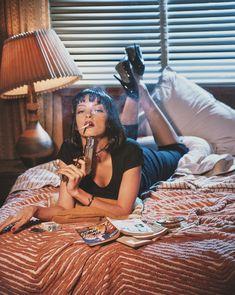 genterie — Uma Thurman as Mia Wallace in, Pulp Fiction Mia Wallace, Film Aesthetic, Retro Aesthetic, Quentin Tarantino, Winona Ryder, Art Pulp Fiction, Pulp Fiction Quotes, Pulp Fiction Tattoo, Fiction Film