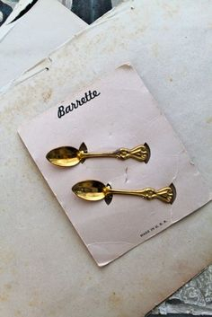 vintage 1940s hair clips - SPOON pair of hair barrettes (NWT) by MsTips on Etsy https://www.etsy.com/listing/263203937/vintage-1940s-hair-clips-spoon-pair-of
