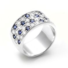 Memoire 18K White Gold Sapphire and Diamond Ladies Wedding Band, available now at King Jewelers