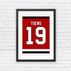 Jonathan Toews Number 19 Chicago Blackhawks Jersey Art Print | Mancave Wall Art | NHL Memorabilia | Perfect Gift for Hockey Fan
