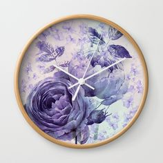 roses and ivy in purple Wall Clock SOLD!thank you!