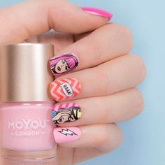 15 # design of # pop art nails that will turn you into the most - Best Nail Art Cute Spring Nails, Spring Nail Art, Nail Designs Spring, Cool Nail Designs, Pop Art Nails, Fun Nails, Super Nails, Nail Art Hacks, Nail Stamping