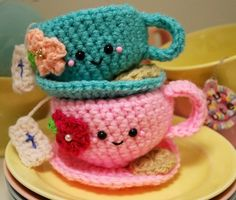 Crochet Pattern-Tea Cup and Saucer от youcute на Etsy