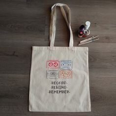 """Cassette Tapes """"Record Rewind Remember"""", handpainted handcrafted bag, natural cotton bag colourfull design shopping bag, fashion, ideal gift Plastic Shopping Bags, Cellophane Bags, Stencil Painting, Cotton Bag, Canvas Tote Bags, Hand Painted, Retro, Natural, Gift"""