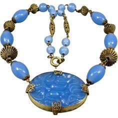 Art Deco Czech Blue Glass Brass Filigree Necklace 1920's