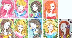 Kika as Disney girls by ~Blush-Art on deviantART - I have no idea who/what Kika is, but I love this art style, especially on Belle and Jasmine <3