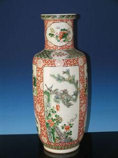 Chinese 19th C. Famille Verte mallet vase , http://www.bidamount.com/