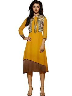 Fabulous Yellow Coloured Embroidered Kurti - Designer Kurtis - Kurtis