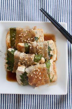 豆腐と大葉の豚バラ巻き
