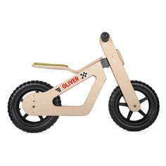 Wooden balance bike for kids. Super cool wooden balance bike for the youngest of racers. Extra unique thanks to personalised stickers with name. Wooden Scooter, Wooden Bicycle, Wood Bike, Metal Bending Tools, Baby Bike, Push Bikes, Balance Bike, Gift Wrapping Services, Ride On Toys