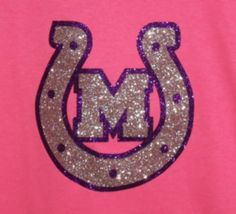 neon pink t-shirt with glitter silver and purple horseshoe