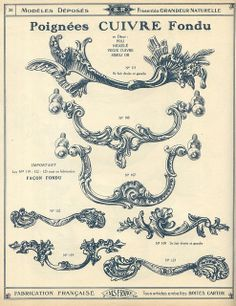 Antique hardware, handles; catalogue qucaillmeubles p26