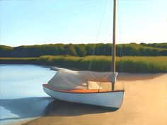 Jim Holland - Present), American Artist - Cat Boat in a Tidal Stream - 20 x 40 Jack Vettriano, Edward Hopper, Honfleur, Candy Art, Boat Painting, Classic Paintings, Le Havre, Living In New York, Artist Gallery