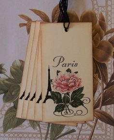 Tags Paris Eiffel Tower Rose Gift Tags Favor Tags by bljgraves, $4.00