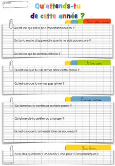 Questionnaire « attentes de l'année French Teacher, Teaching French, Beginning Of The School Year, Back To School, Teaching Tools, Teacher Resources, First Day Of School Activities, Questionnaire, Core French