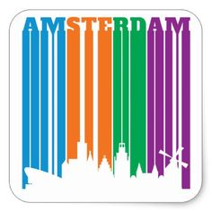 Amsterdam Letters Stripes in City Skyline Square Sticker - craft supplies diy custom design supply special