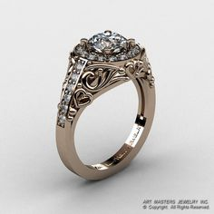 Italian 14K Rose Gold 1.0 Ct White Sapphire Diamond Engagement Ring Wedding Ring R280-14KRGDWS