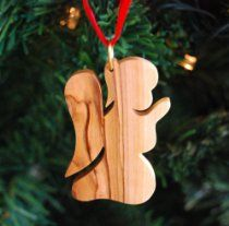 Hand Carved Olive Wood Praying Angel Ornament