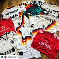 """#Repost Germany Adidas 1990 from @gilojunior - sick collection. """"First stage is admitting I have a problem Looking for Germany home 1986 and Germany away (green) 1988 to complete"""" #vintagefootballshirts #footballshirts #germany #bayernmunich #football #footballshirtcollective #soccer #soccershirt #adidas #adidasfootball #adidasvintage #kitporn #kitnerd #trikot #bayernmunich #bayern #classicfootball #vintagefootball #germanyfootball"""