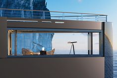 The upper deck observatory located at the bow of the yacht features impressive floor-to-ceiling windows Yacht Design, Boat Design, Make A Boat, Build Your Own Boat, Jet Ski, Yacht Luxury, Monaco Yacht Show, Spa Offers, Yacht Boat