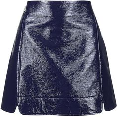 TOPSHOP Vinyl A-Line Skirt ($70) ❤ liked on Polyvore featuring skirts, mini skirts, topshop, navy blue, short a line skirt, vinyl mini skirt, vinyl skirting and navy blue mini skirt