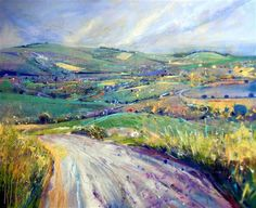 Lorna Holdcroft ~ Recent Paintings: Towards Glynde, East Sussex ~ Acrylic and Pastel on canvas (120 x 100cm)