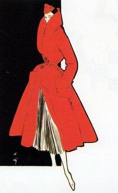 Red coat  1950s fashion illustration by Rene Gruau.