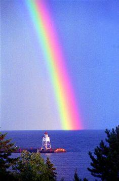 Lake Superior Photograph - Rainbow Over Grand Marais Harbor by Michael Maltese Rainbow Magic, Rainbow Sky, Love Rainbow, Over The Rainbow, Rainbow Colors, Image Nature, All Nature, Amazing Nature, Beautiful Places