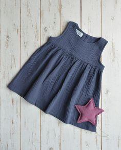 Girls Muslin Sleeveless Dress Cotton Dark Blue by LillyRose2008 on Etsy