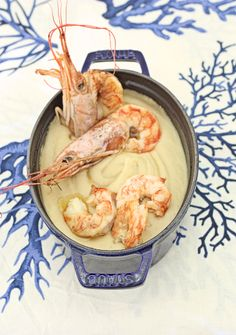 Cream Ceci & Prawns - Cream of chickpeas with shrimp - Italian recipe translatable by Google