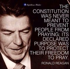 """Americans need to understand this!  Anti-Christian groups have tried and succeeded at changing the people's concept of """"freedom of religion""""!  #reagan #quote"""
