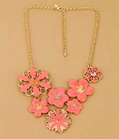 Lovely Gold Alloy Necklace With Floral Pendant  - New In