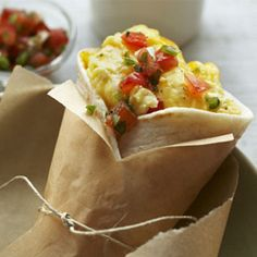 Egg and Cheese Breakfast Burrito - Make ahead, wrap in foil, even add bacon, and freeze.  Great to pack and go.