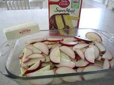 About 5 to 7 granny smith apples (or whatever you prefer), peeled, cored & thinly sliced 1 (9 ounce) package yellow cake mix 2 tablespoons sugar 1 tablespoon ground cinnamon 1 stick real butter Directions: 1. Preheat oven to 350°F. 2. Cut apple slices crosswise in half. 3. Place in pan; sprinkle with dry cake mix. 4. In small bowl, combine sugar & cinnamon; sprinkle over cake mix. 5. Drizzle with butter. 6. Bake 30 minutes or until topping is golden brown. 7. Serve warm with ice cream, if…