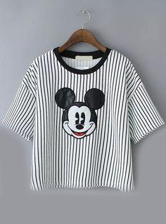 Vertical Striped Mickey Pattern Pale Grey T-shirt 15.83