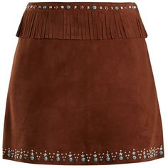Miu Miu Stud-embellished fringed suede mini skirt (8,750 PEN) ❤ liked on Polyvore featuring skirts, mini skirts, high waisted mini skirt, a line mini skirt, short a line skirt, suede fringe skirts and high waisted a line skirt