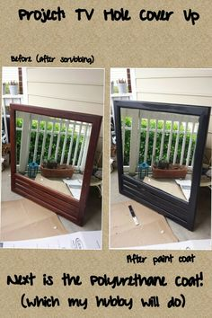 Mirror Transformation. Using to cover up a TV hole above fireplace mantel :) Goodwill Find $4.99 plus 20% off coupon= $3.99 and paint poly is free because its leftover from other projects!