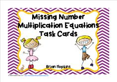 Missing Number Multiplication Equations Facts have students finding the missing factor. Put these on a ring for early finishers or a work station or play the whole game Scoot, Quiz Quiz Trade or any other cooperative group activity! An answer key and a recording sheet for students are also included. There are 24 cards. They are only in black and white.
