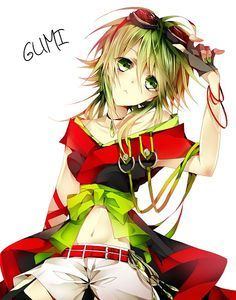 Gumi ( Vocaloid ). She is wearing an interesting outfit here. Boyish shorts. Girly kimono.