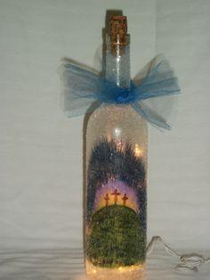 Hand painted Easter cross lighted bottle by handcraftsbyteresa, $35.00