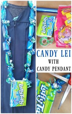 Lei with Candy Box Pendant - DIY Graduation Lei How to make a graduation candy lei with candy box pendant. An affordable DIY gift for a graduate.How to make a graduation candy lei with candy box pendant. An affordable DIY gift for a graduate. Candy Lays For Graduation, Diy Candy Leis Graduation, Graduation Gifts, Graduation 2015, Graduation Parties, Graduation Decorations, Candy Necklaces, Candy Crafts, Best Candy