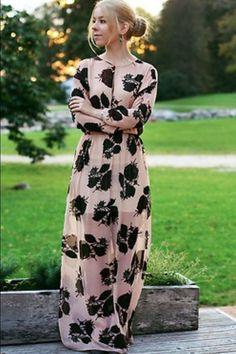 ZARA NEW COLLECTION A/W 2014 PINK LONG FLOWER FLORAL PRINT MAXI DRESS #ZARA #Maxi #Cocktail