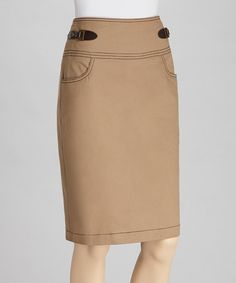 Take a look at this Roasted Almond Stitched Skirt by NYCC on #zulily today!