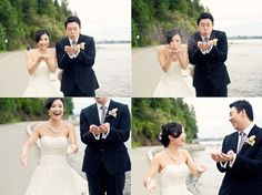 Fun bride and groom collage of photos by Joanna Moss Photography