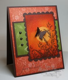 """Stamps: Garden Silhouette's,  Dreams du Jour (butterfly).  Paper: whisper white cs, Chocolate Chip cs, background/ green panel unknown.  Ink: More Mustard, Pumpkin Pie, Ruby Red,  Bravo Burgundy,  Chocolate Chip, Punches:  1 1/4"""" circle.  Brayer, Sponge, Pearls (ink w-Ch. Chip)."""