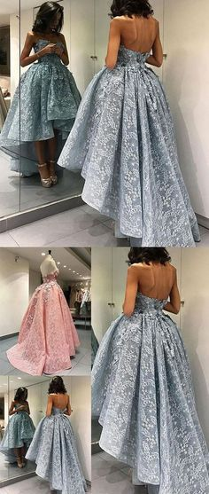 Charming Ball Gown Strapless Lace High-low Prom Dress #highlowlacepromdress #bluepinklacepromdresses #prom #dresses #longpromdress #promdress #eveningdress #promdresses #partydresses #2018promdresses
