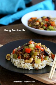 Spicy Kung Pao Lentils with a delicious kung pao sauce, veggies and cooked lentils. Easy 30 minute weeknight dinner. Gluten-free Vegan Recipe.