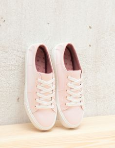 Lace-up flat sneakers - View All - Bershka Portugal