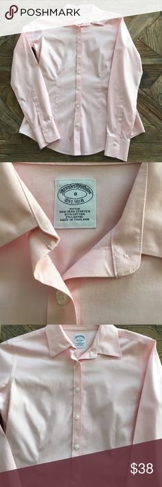 Brooks Brothers non-iron fitted button down. NWOT! Beautiful shirt! Never worn. Pale pink. Tops Button Down Shirts